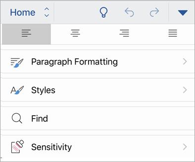 Capture d'écran du bouton Sensibilité dans Office pour iOS