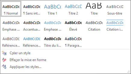Menu déroulant Styles - Office 365 Word