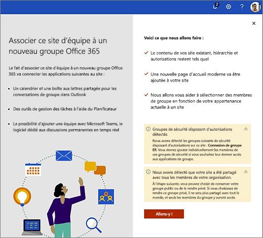 Cette image montre le premier écran de la nouvelle Assistant Création d'Office 365.