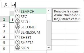 Liste de la saisie semi-automatique de formule
