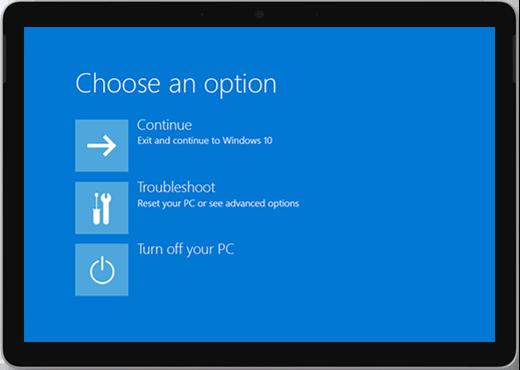Écran bleu avec des options pour continuer, résoudre des problèmes ou éteindre votre PC.
