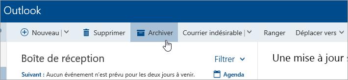 Capture d'écran du bouton Archiver