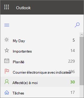 Capture d'écran du volet de navigation gauche de la boîte de réception tâches pour Outlook pour le Web, qui m'a été attribué immédiatement après le message électronique marqué