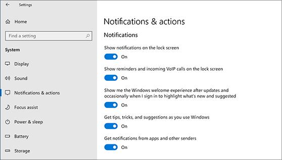 Paramètres de notification qui peuvent être activés ou désactivés