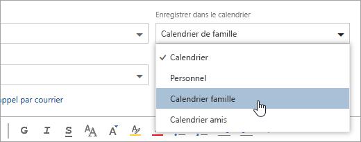 Capture d'écran du menu déroulant Enregistrer dans le calendrier