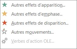 Autres effets d'animation dans PowerPoint