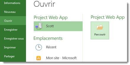 Bouton Parcourir pour ouvrir un fichier Project Web App