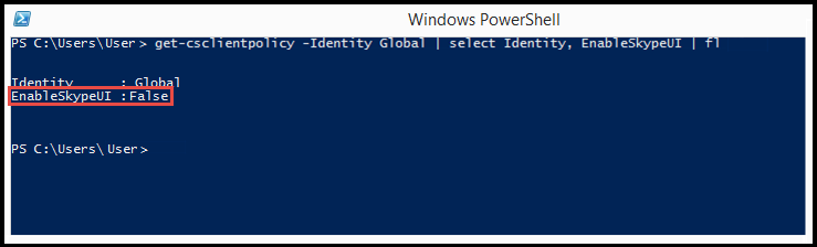 PowerShell : SkypeUIDisabled