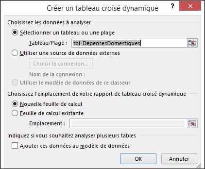 Boîte de dialogue de tableau croisé dynamique de créer Excel