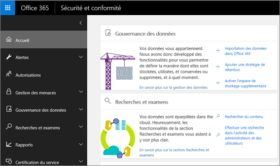 Page d'accueil du Centre de sécurité et conformité Office365