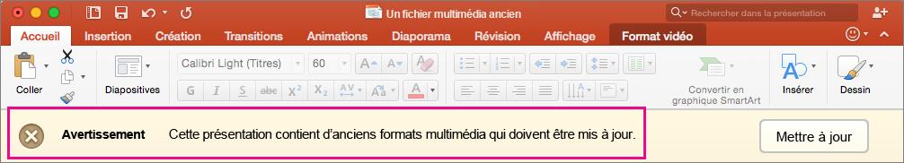 Ancien format de média PowerPoint2016 pour Mac