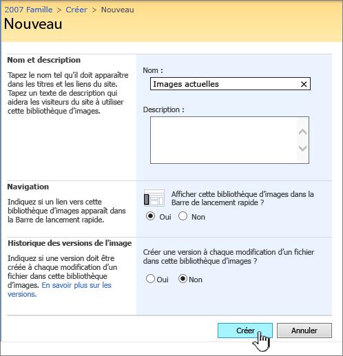 Renseignement des nom, description, navigation et le contrôle de version pour une bibliothèque d'images