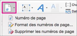 Dans l'onglet Insertion, sélectionnez Numéro de page