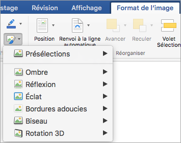 Options du menu effets sur l'image