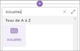 Composant WebPart Actualités dans la boîte à outils de composant WebPart