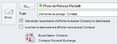 Demande d'accès aux contacts Exchange d'un autre utilisateur