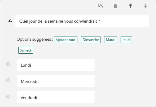 Sélection des options de réponses suggérées pour une question