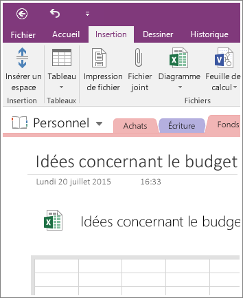 Capture d'écran d'une nouvelle feuille de calcul dans OneNote2016