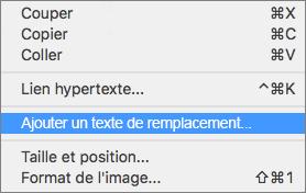 Menu contextuel pour ajouter un texte de remplacement à une image dans Outlook.