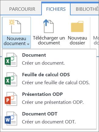 Commande Nouveau Document dans une bibliothèque avec des modèles personnalisés