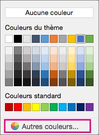 Options de couleur de trame de fond avec l'option Plus de couleur mise en évidence.