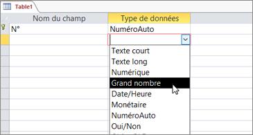 Liste Type de données avec Grand numéro en surbrillance