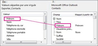 Mappage d'une colonne d'Excel à un champ de contact Outlook