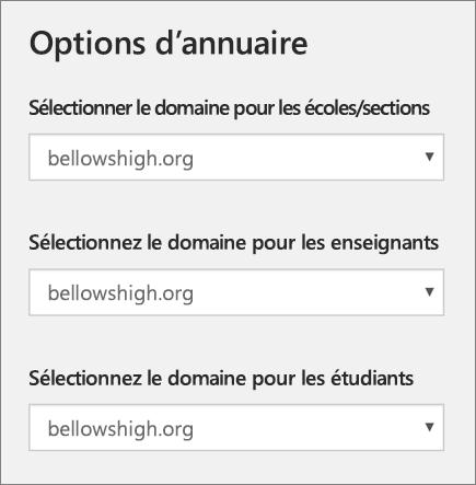 Capture d'écran de la sélection du domaine pour les établissements scolaires/sections, les enseignants et les étudiants dans School Data Sync