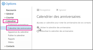 Activer le calendrier des anniversaires