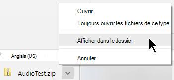 Pour voir le fichier compressé, cliquez sur la flèche en regard du nom de fichier, puis sélectionnez Afficher dans le dossier.