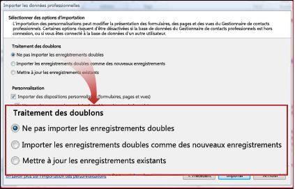 Fenêtre Importer, section Doublons