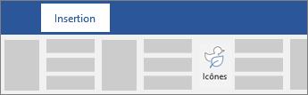 Option permettant d'insérer des icônes dans le ruban