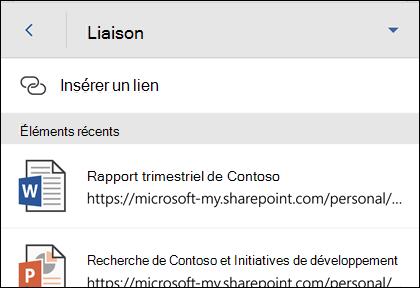 Insérer un lien hypertexte vers un fichier Office récemment utilisées.