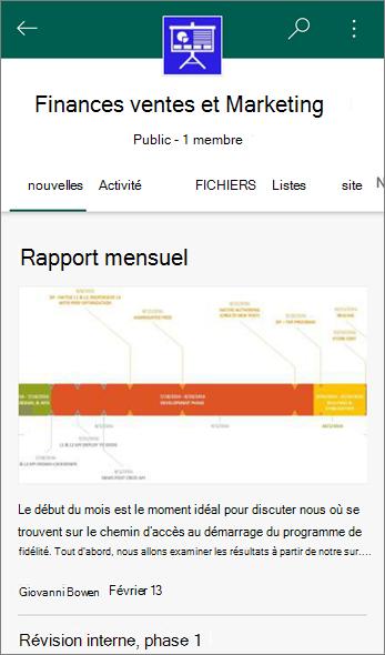 Capture d'écran de l'onglet Actualités sur un Site d'équipe