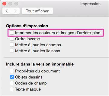 Dans la boîte de dialogue Imprimer, l'option Imprimer les couleurs et images d'arrière-plan est mise en évidence