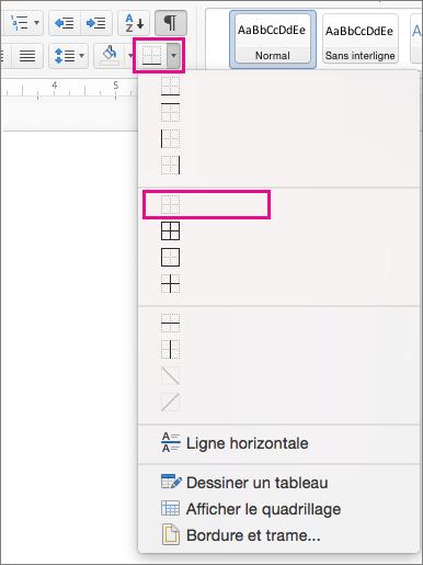 Option Aucune bordure mise en évidence dans le menu Bordure