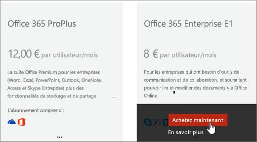 Lien Acheter maintenant dans la page Acheter des services du Centre d'administration Office365.