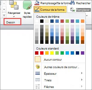 Menu contour de forme de zone de texte PowerPoint 2010