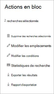 Dans la page Actions en bloc, cliquez sur Exporter les résultats
