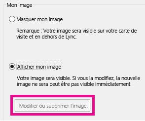 Capture d'écran de la partie supérieure des options Définir mon image avec le bouton Modifier ou supprimer l'image grisé