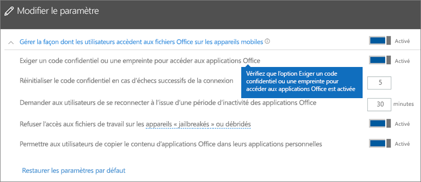 Vérifiez que l'option Demander un code confidentiel ou une empreinte digitale pour accéder aux applications Office est activée.