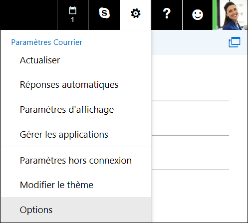 Options des paramètres d'Outlook sur le web