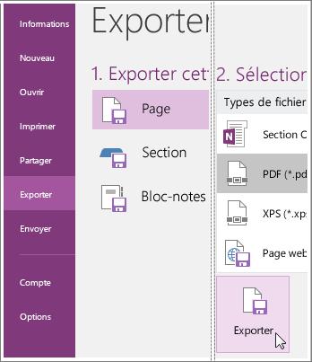 Capture d'écran de l'exportation d'une page de notes dans OneNote2016