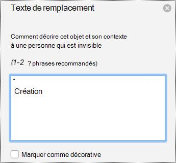 Volet texte de remplacement pour les images dans PowerPoint pour Mac dans Office 365.