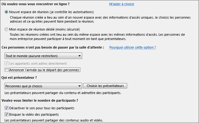 Capture d'écran des options de réunion configurées pour de nombreux participants