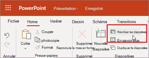 Sélectionner Réutiliser les diapositives