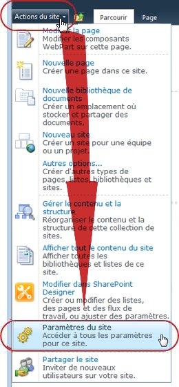 Commande Paramètres de site dans le menu Actions du Site