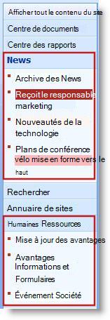 Les sous-sites et les pages s'affichent sous les titres dans le menu de lancement rapide.