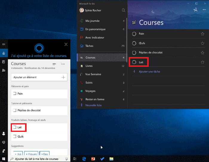Capture d'écran montrant à la fois Cortana et Microsoft to-do ouvertes sur Windows 10. Le lait a été ajouté à la liste de courses avec Cortana et est également disponible dans la liste de courses de Microsoft to-do.