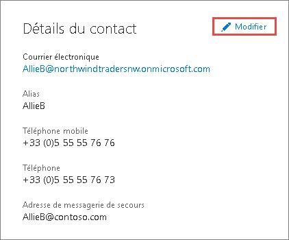Utiliser les détails du contact pour mettre à jour les informations sur l'administrateur